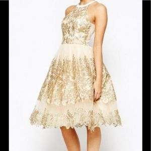 Chi Chi London (ASOS) Gold Lace Dress